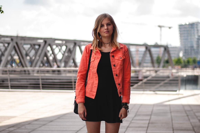 Orange Jeansjacke