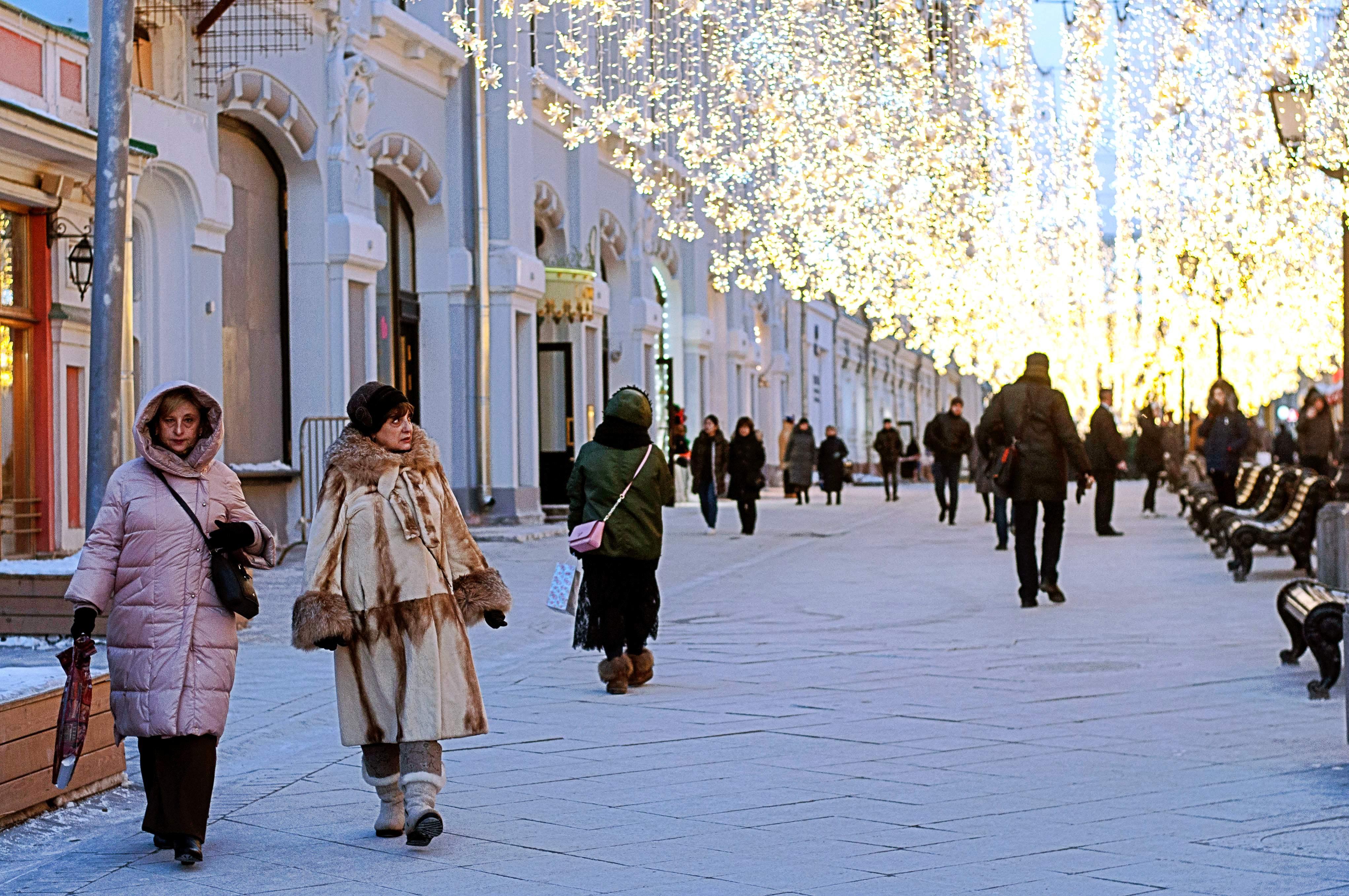 Moskau GUM Weihnachtsbeleuchtung