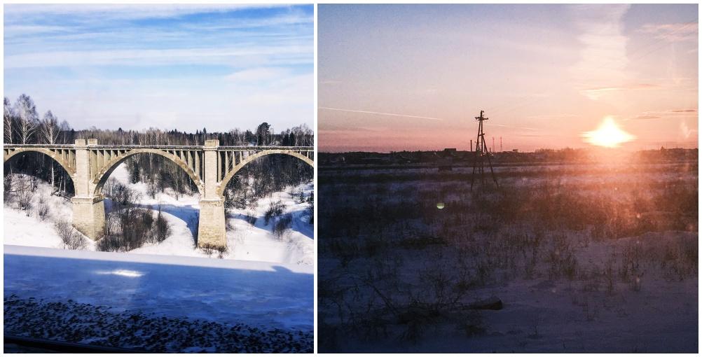Blick aus dem Zugfenster transsibirische Eisenbahn Transsib